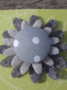 Grey spotty felt brooch