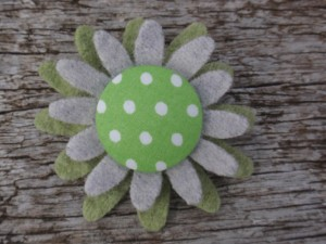 Grey & green spotty felt brooch