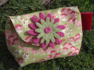 Flowery green & pink purse