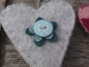 Silver grey & jade felt heart close up