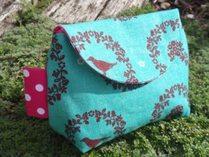Teal linen bird purse