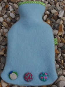 Blue & green spotty hot water bottle - felt