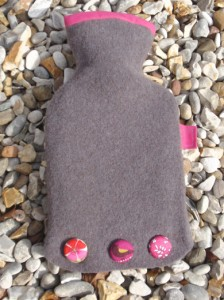 Cocoa & pink mini hot water bottle - felt