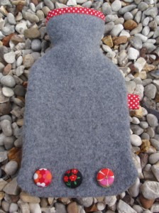 Grey and red spotty mini hot water bottle - felt
