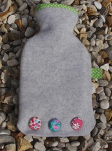 Silver grey mini hot water bottle - felt