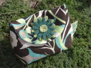 Green flower teal soft linen purse