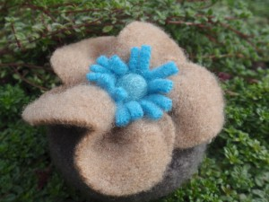 Tape measure - taupe & blue felt
